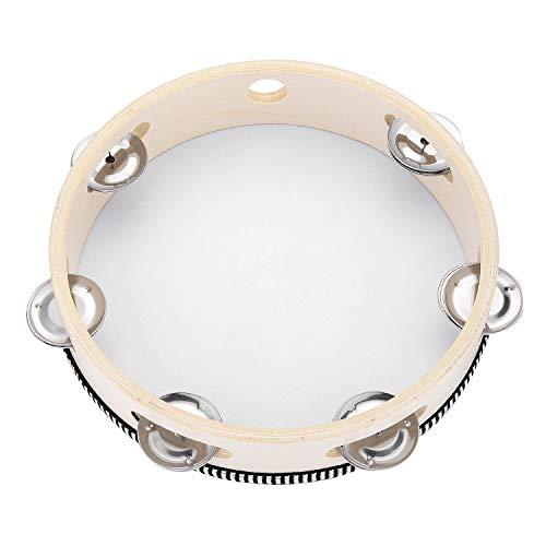 Tambourine for Church 8 inch Hand Held Drum Bell Birch Metal Jingles...