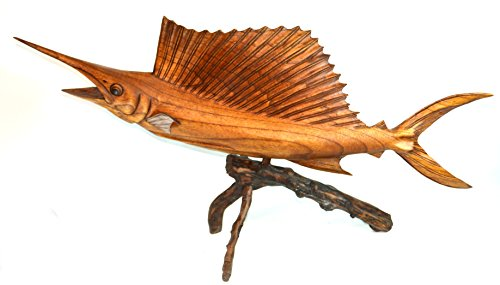 WorldBazzar Sailfish Beautiful Handmade Wood Sculpture Statue Ocean Mount Carving Sport Fish Trophy ONE of A Kind
