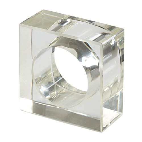 SARO LIFESTYLE NR218.C Collection Acrylic Square Shaped Napkin Rings (Set of 4), 2' x 2', Clear