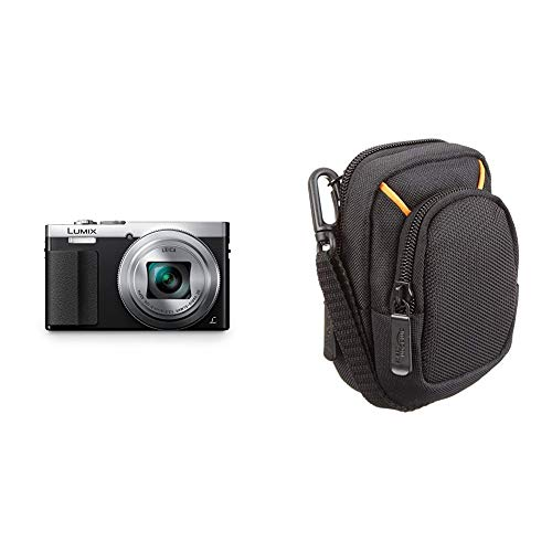 Panasonic DMC-TZ71EG-S Lumix Kompaktkamera (12,1 Megapixel, 30-Fach Opt. Zoom, 7,6 cm (3 Zoll) LCD-Display, Full HD, WiFi) Silber & Amazon Basics Kameratasche für Kompaktkameras, mittlere Größe