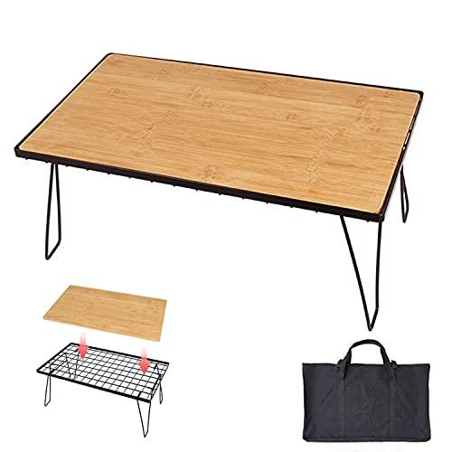 HT Mesa plegable de madera de bambú, rejilla de hierro, mesa de...