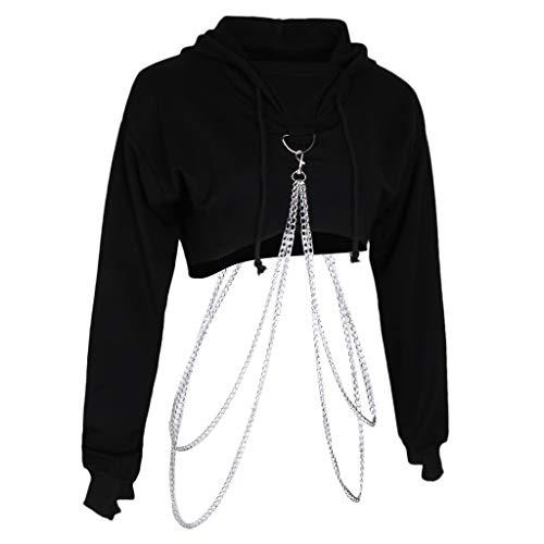 sharprepublic Damen Kapuzen Pullover Sweatshirt Hoodie Crop Top Strickjacke Sweater Hooded mit Metall Kette, Kapuzenpullover Kurz Bauchfrei - Schwarz, M