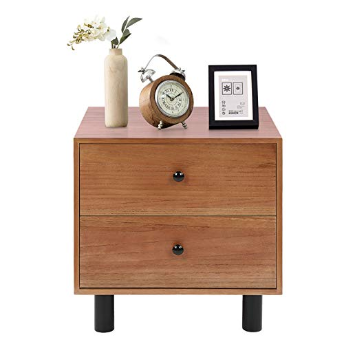 Nachttisch mit 2 Schubladen Nachttische Schrank Beistelltisch Couchtisch aus Holz