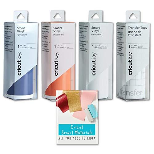 Cricut Joy Smart Permanent Vinyl Roll Bundle, Blue, White, Orange