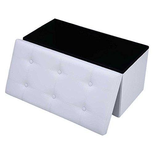 vengaconmigo - Baúl de almacenaje Plegable con reposapiés Multiusos, Carga máx. 300 kg 76 x 38 x 38 cm, marrón, Negro y Blanco