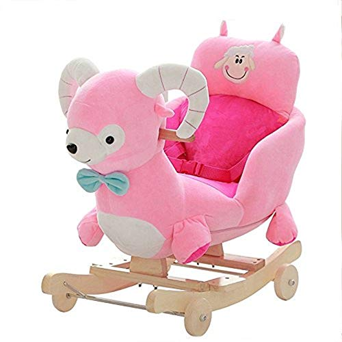 Rocking Chair Baby Toy Gift Solid Wood Music Children Rocking Chair 2 in 1 Rocking Horse 1-4 Years Old 70KG Capacity, Kids Traditional Toy Rocking Ride-On Toy