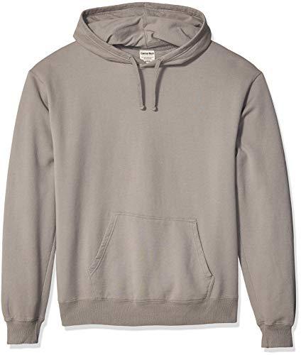 Hanes Men's ComfortWash Garment Dyed Fleece Hoodie Sweatshirt, Concrete Gray, Medium