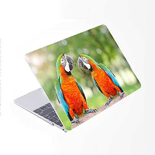 SDH Newest for MacBook Pro 13 inch Case 2020 Release Touch Bar & ID Model: A2338/A2289/A2251, Plastic Pattern Hard Shell & Laptop Sleeve Bag & Keyboard Cover Skin 4 in 1 Bundle, Cute Parrot 2