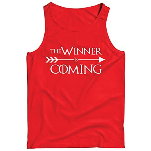 lepni.me Camisetas de Tirantes para Hombre ¡Viene el Ganador! Divertido Atuendo Motivacional para fanáticos de los Deportes (S Rojo Multicolor)