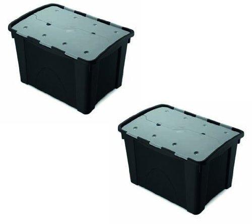 Set: 2 multifunktionale Aufbewahrungsboxen 'Unbreakable' mit 60 Liter Volumen und einem Faltdeckel, extrem robust und stapelbar - für Ordnung an jedem Ort