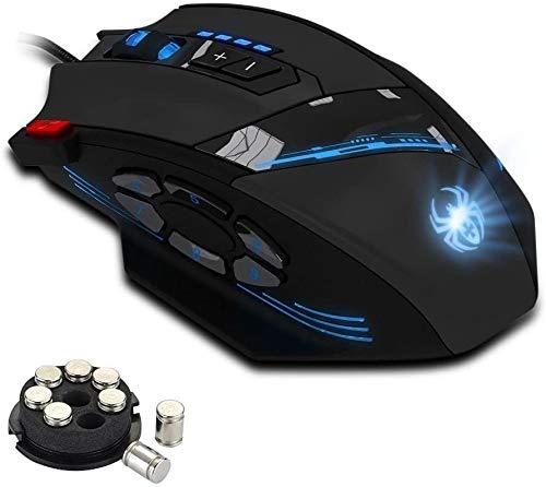 Zelotes Gaming-Maus, 12 programmierbare Tasten, 8-teiliges Gewichts-Tuning-Set, 4000 DPI (bis zu 8000 DPI durch die Software) für PC, Laptop, schwarz