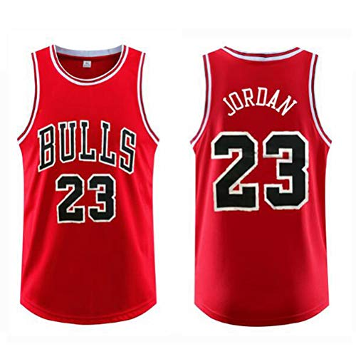 FSBYB para Hombre Camisetas # 23 Jordan Chicago Bulls Tops Jerseys del Baloncesto Retro de Gimnasia Chaleco Deportes,Rojo,XL