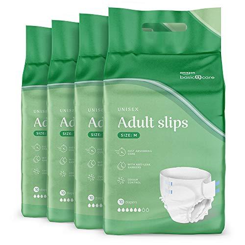 Amazon Basic Care – Inkontinenzslips für Erwachsene Medium, 4 Packungen mit 10 Stück (insgesamt 40 Stück)