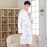 Albornoces Cotton Pajamas In Spring and Autumn, Men's Long Sleeved Bathrobes, Summer, Thin, Cotton, Pyjamas, Men's Long Family Clothes,XXXL,Coffee Color Snoopy
