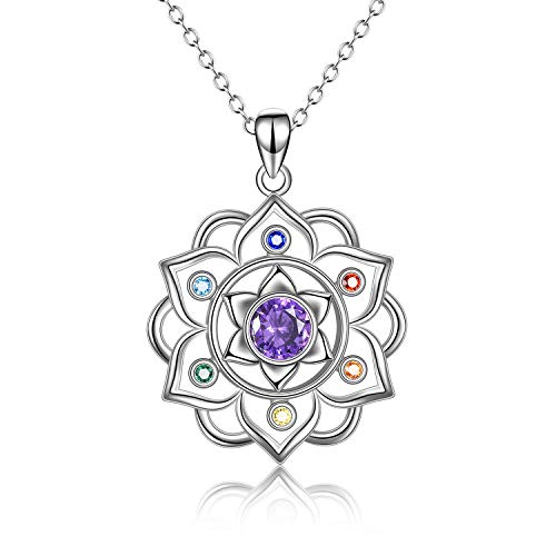 Collar de plata de ley 925 con colgante de chakra para yoga, loto, joyería para mujer
