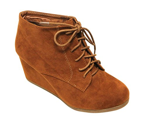 Bella Marie Brenda-11 Women's High Top Lace Up Rounded Toe Platform Wedge Suede Booties,Tan,9