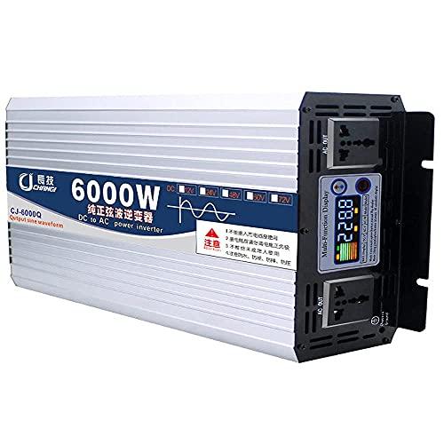 GZTYLQQ Inverter a Onda sinusoidale Pura 6000W 8000W Inverter per Auto Dc 12V/24V/48V/60V a Inverter di Potenza AC 110V/220V, 2 Prese Triple, Display a Colori Intelligente, per Camper, Barche ed EME