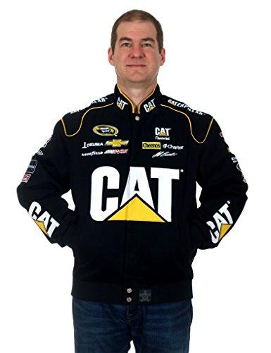 JH Design Jeff Burton Caterpillar Racing Nascar Jacket a Black Jacket for Men (X-Large)