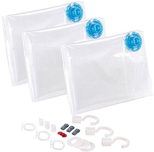 PEARL Kleidersack Vakuum: 3er-Set Vakuum-Beutel zur Saugkompression, mit Bügelhaken, 70 x 140 cm (Vakuumbeutel mit Haken)