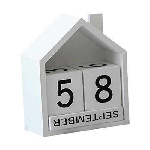 heresell Calendario Piccola casa in Legno-eterna Gift-Avvento perpetuo con Blocchi di Legno Mese e Data-Calza di Natale per Bambini-Dimensioni 14* 14* 5 White