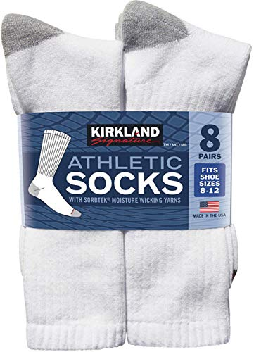 Kirkland Signature Men's Athletic Sock 8-pair, White (White, 8-12)