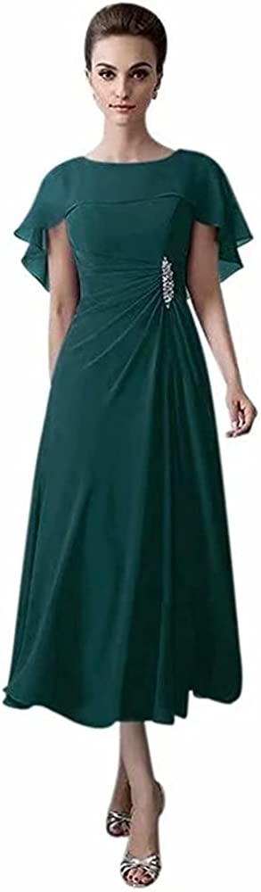 homdor Translated Tea Length Mother 2021 new of The Bride Size Chiffon Short Plus Fo