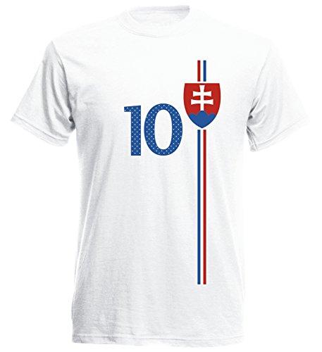 Slowakei Slovensko Herren T-Shirt Nummer 10 Trikot Fußball Mini EM 2016 T-Shirt - S M L XL XXL - Weiss NC ST-1 (S)