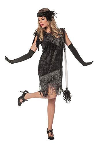 Charleston Flapper damski kostium czarna sukienka z frędzlami opaska na czoło z lat 20. sukienka Gatsby Girl, rozmiar: 52