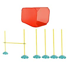 JUMPS, TUNNELS & POLES – This agility kit contains 1 adjustable jump, 1 square tunnel & 4 weave poles or 6 weave poles without adjustable jump EXERCISE YOUR DOG - Designed to bring interactive exercise & fun indoors to keep dogs busy TRAINING TOOL - ...