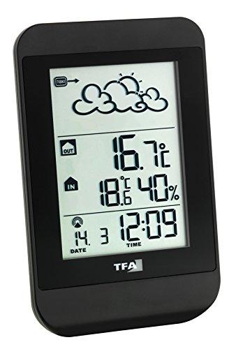 TFA Dostmann Juno Funk-Wetterstation, Wettervorhersage, Außentemperatur, Innentemperatur, Luftfeuchtigkeit, Funkuhr, leicht zu bedienen