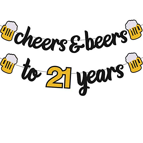 Cheers to 21 Years Banner 21th Birthday Decorations for Men Women Him Her 21s Happy Birthday Theme Wedding Anniversary Party Supplies Black Sparkle Decorations Pre-Strung