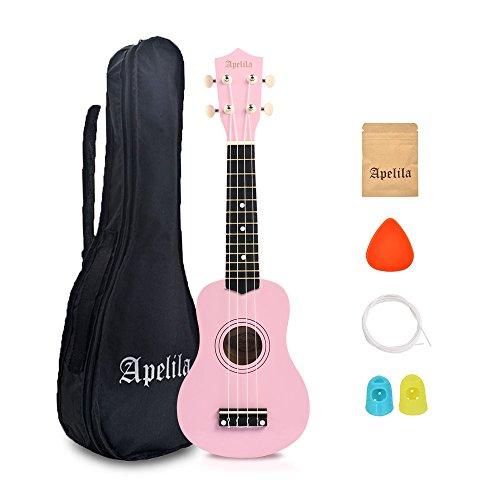 Apelila 21 inch Soprano Ukulele Acoustic Mini Guitar Musical Instrument with Bag, Pick, Strings, for Beginner, Kid, Starter, Amateur (Light Pink)