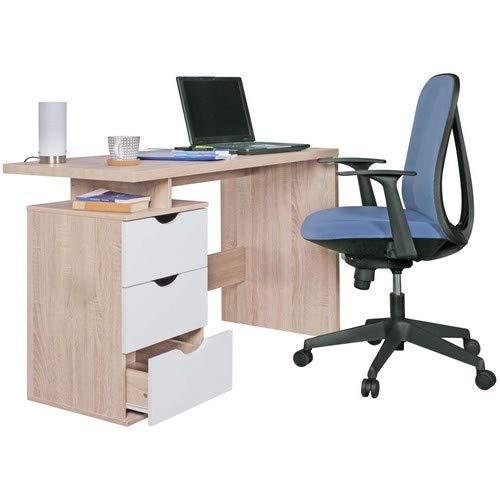 WOHNLING Schreibtisch Design Bürotisch mit Schublade Sonoma/Weiß Tisch Computertisch mit Föcher für Ablage 120 cm modern Computerschreibtisch für Jugendliche platzsparend Laptoptisch für Schüler