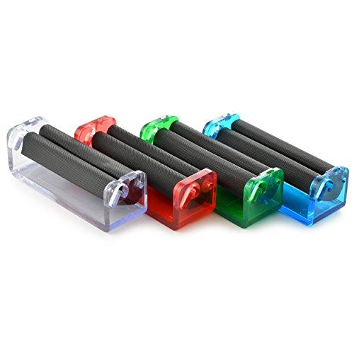 Ganzoo 4er Set Zigarettendrehmaschine für Drehtabak, Zigarettenroller, Zigarettenwickler, Zigarettendreher, Drehzigaretten Wickler, Dreher, Tabak, Farben: blau, rot, grün, weiß transparent, Marke