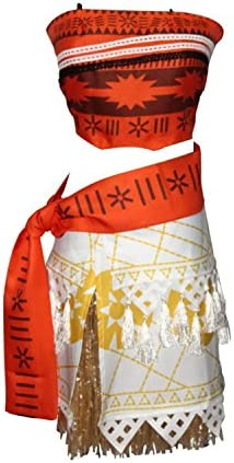 Quesera Women s Moana Costume Patterned Belt Tassel Skirt Set Outfit Party Costume Red Tag Size product image