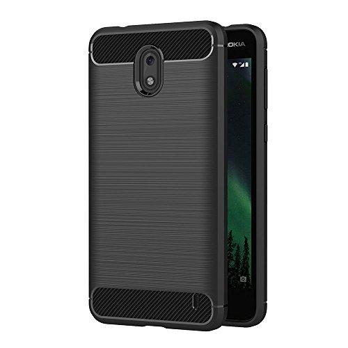 AICEK Cover Nokia 2, Nero Custodia Nokia 2 Silicone Molle Black Cover per Nokia 2 Soft TPU Case (5.0 Pollici)