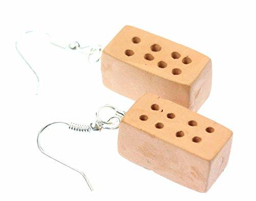 Miniblings Backstein Ziegelstein Ohrringe Hänger Stein Steine Haus Maurer Mauer - Handmade Modeschmuck I Ohrhänger Ohrschmuck versilbert