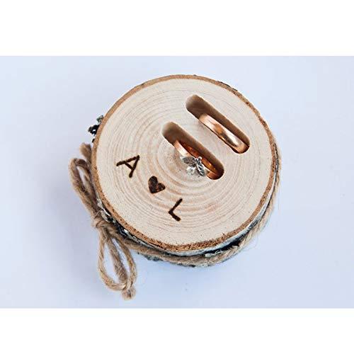 happygoluck1y - Caja de madera para 2 anillos, caja de anillos de boda, iniciales personalizadas, iniciales de boda, caja de soporte para anillo de boda, rústico portador de anillo de boda para ceremonia