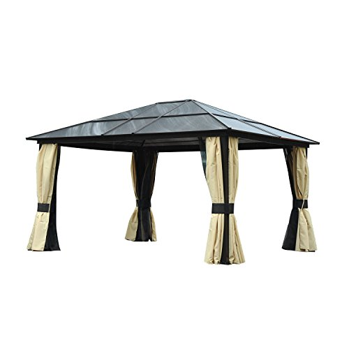 Outsunny 4.3 x 3.6m Patio Aluminium Gazebo Canopy Marquee Party Tent Hardtop Roof Garden Shelter w/Mesh & Side Walls