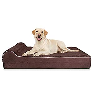 Jumbo XL Orthopedic 7-inch Thick High Grade Memory Foam Dog Bed With Pillow and Easy to Wash Removable Cover with Anti-Slip Bottom – Free Waterproof Liner Included