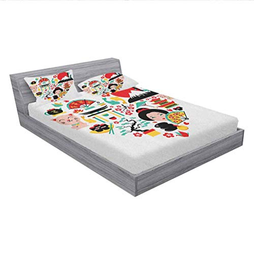 Japanese Printed Bed Sheet Set,The Land of The Rising Sun Culture Bonsai Tree Fuji Mountain Tea Sushi Zen Design,1 Fitted Sheet and 2 Pillowcases,Cal-King Size,Multicolor