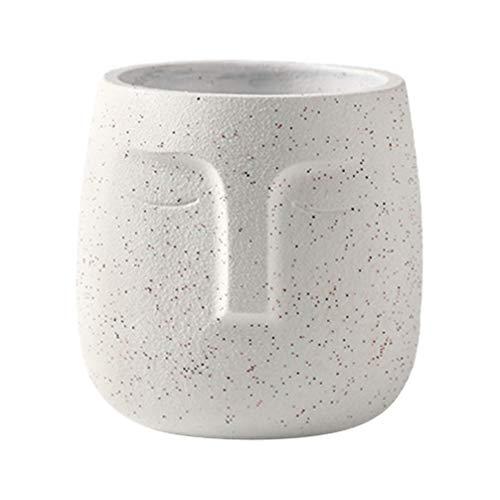 DOITOOL Beton Gesicht Blumentopf Zement Gesicht Vase Abstrakte Saftige Pflanzer Kopf Statue Blumentopf Home Desktop Dekoration (Weiß)