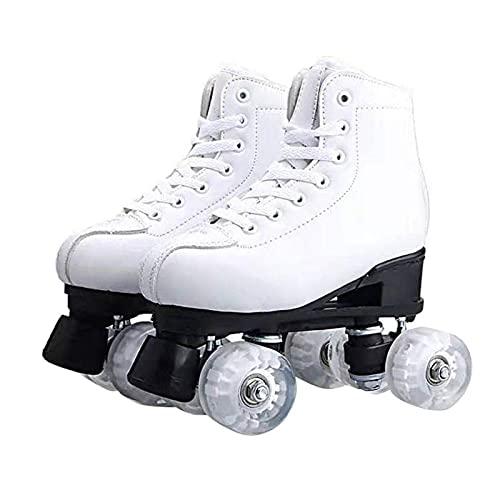 litulituhallo Patines para mujeres y hombres clásicos de 4 ruedas de patinaje de cuero de la PU doble blanco Flash rueda...