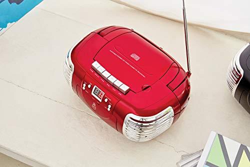 GPO PCD299 Equipo de música portátil - Reproductor de CD, casete y radio - Batería o corriente - Rojo