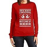 Shirtgeil Merry Christmas Bitches Weihnachtspullover - Winterpulli für Damen Rot Medium