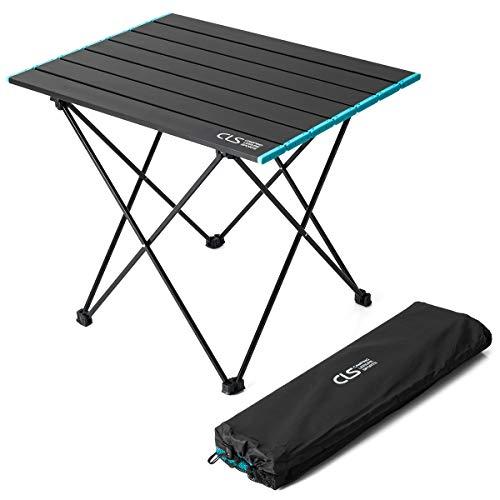 Lesfit Mesa de camping plegable de aluminio, ligera y plegable portátil para picnic, cena, senderismo, cocina con bolsa de transporte