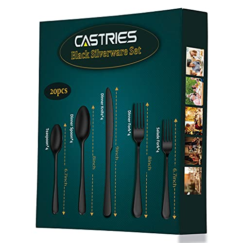 Castries Black Silverware Set, 20 Piece Matte Stainless Steel Flatware Set for 4, Cutlery Set for Home Kitchens, Hand Wash Recommended