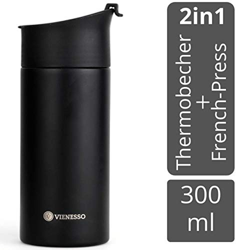 VIENESSO Kaffee Travel-Press mit Thermo Funktion I 2in1 Vakuum Thermobecher aus Edelstahl für unterwegs mit French-Press Funktion I Mini Coffee-Maker to Go, Travel Mug, auslaufsicher (schwarz, 300 ml)