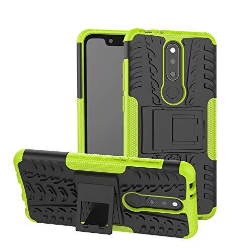 MRSTER Nokia 5.1 Plus Hülle, Outdoor Hard Cover Heavy Duty Dual Layer Armor Hülle Stoßfest Schutzhülle mit Ständer Handyhülle für Nokia 5.1 Plus (2018). Hyun Green