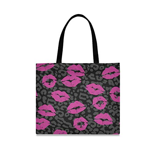 LZXO Canvas Tote Bag Lippenstift Kiss Animal Print Natural Long Handle Wiederverwendbare...